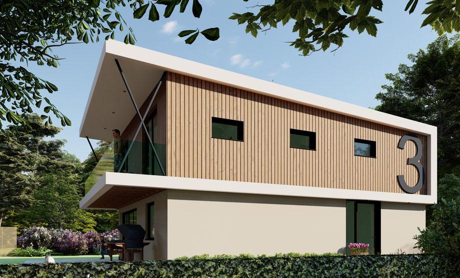 3D ontwerp moderne recreatiewoning  Kamperland