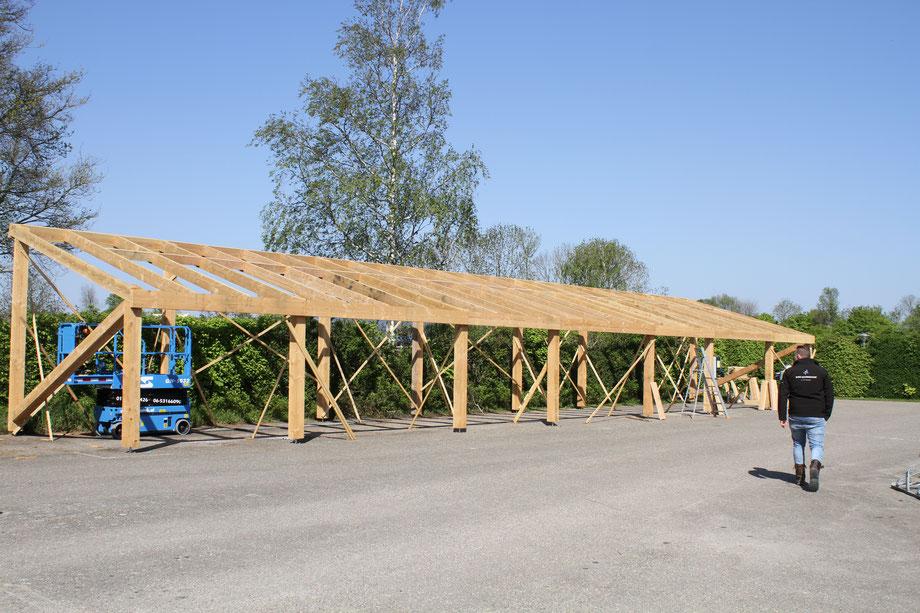 Houtconstructie solaroverkapping camping Scheldeoord