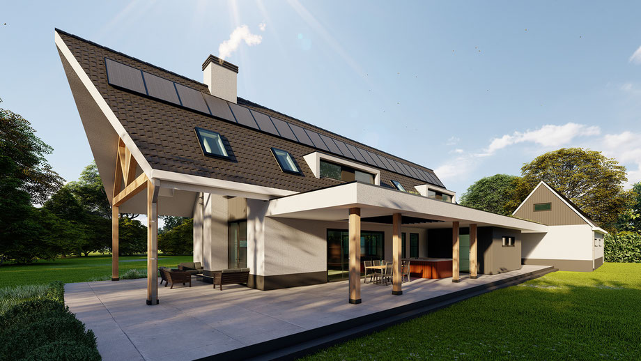 3D ontwerp moderne villa met garage