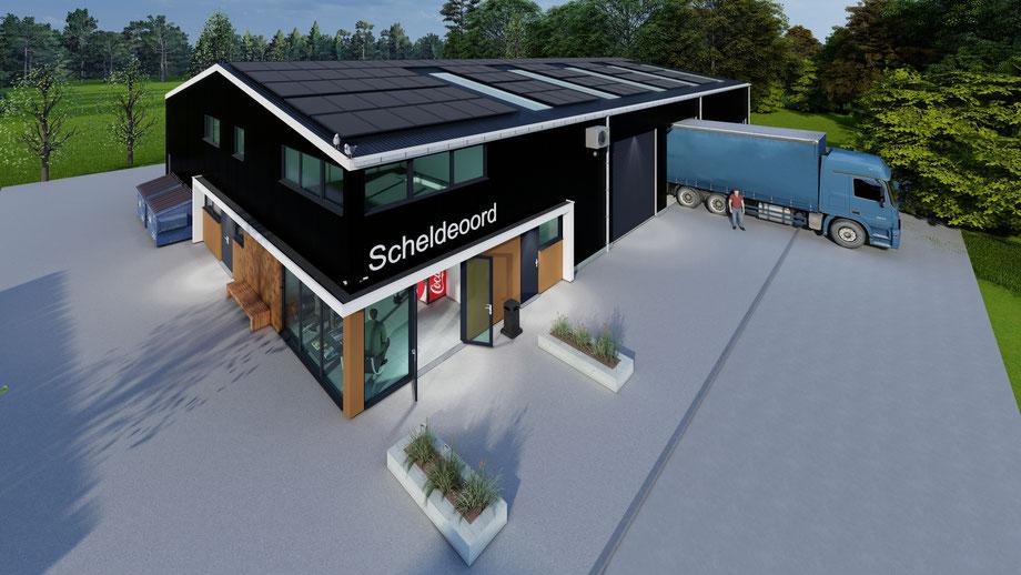 3D ontwerp nieuwbouw loods Camping Scheldeoord