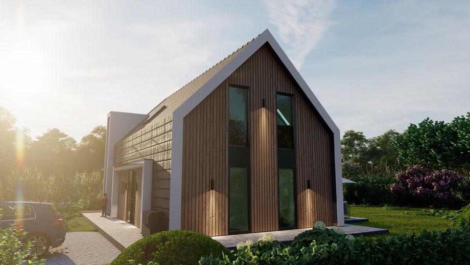 Schuin achterzijde 3D ontwerp vrijstaande woning Zevenhuizen