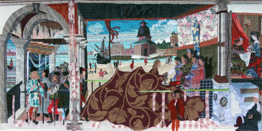 Das erste Bild des Ursulazyklus von Vittore Carpaccio - Die Ankunft der englischen Gesandten - als Stoffgemälde