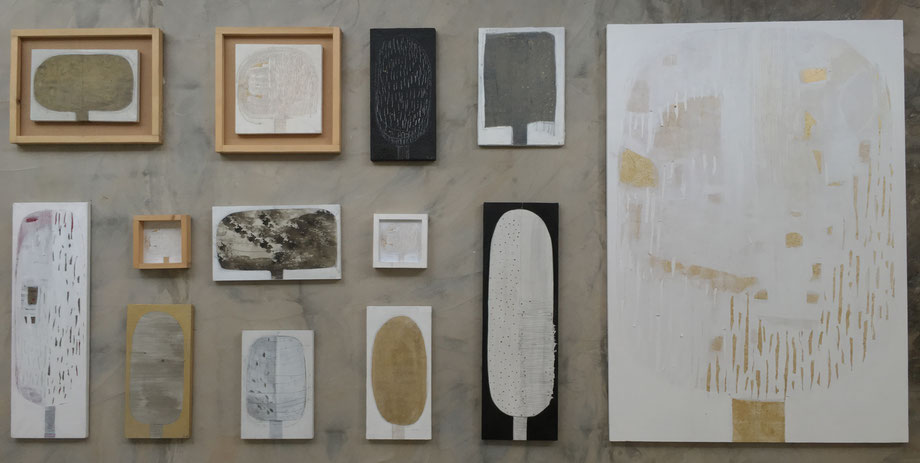 The B.H.T. + F.& T., 2015/16, acrylic, lapiz, resin, marble, paper, gold, silver on canvas, different sizes installation