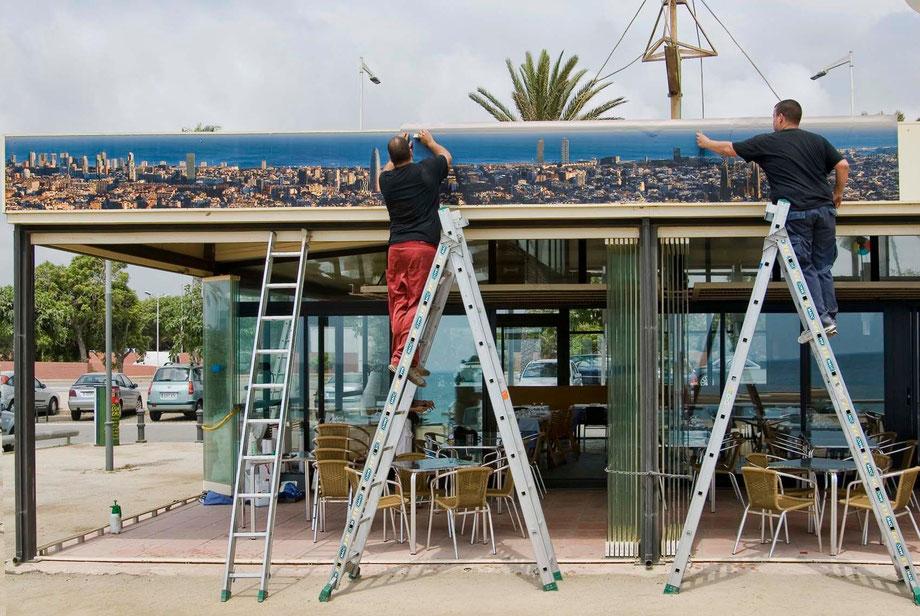 Gigantograía para el restaurante Catamarán