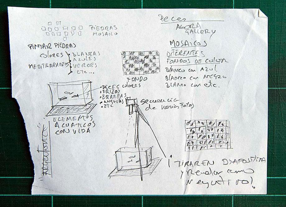 Esbozo de Llorenç Conejo  para un proyecto para gareía Agora Gallery, New YorK