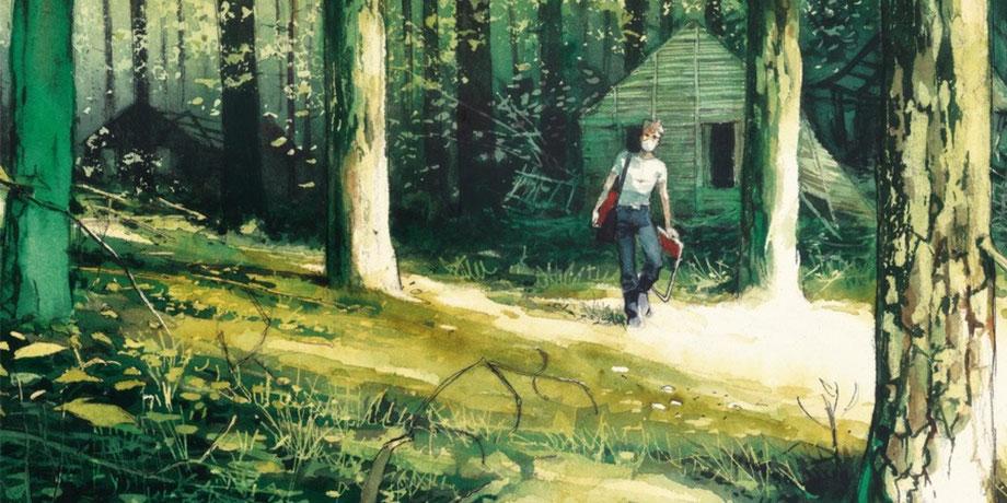 Der Künstler Emmanuel Lepage geht mit Klappstuhl und Atemschutzmaske im Wald von Tschernobyl umher