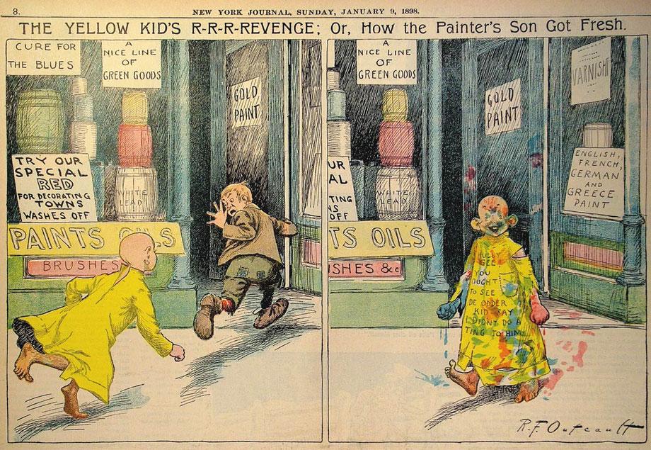 "Auszug aus dem Comic-Strip ""Yellow Kid"" von Mickey Dugan"