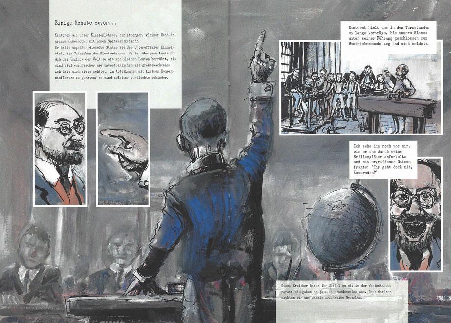 """Szene aus dem Klassenzimmer aus der Graphic Novel """"Im Westen nichts Neues"""""""