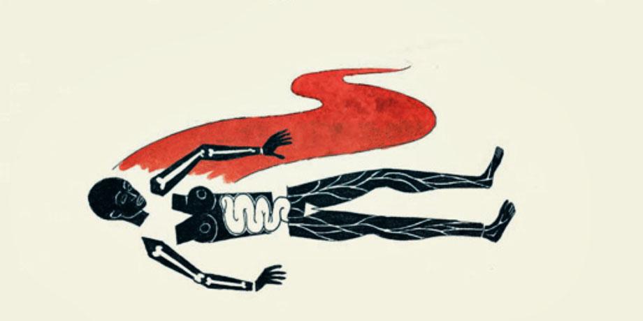 Weiblicher Körper gezeichnet in Anlehnung an Picassos Guernica