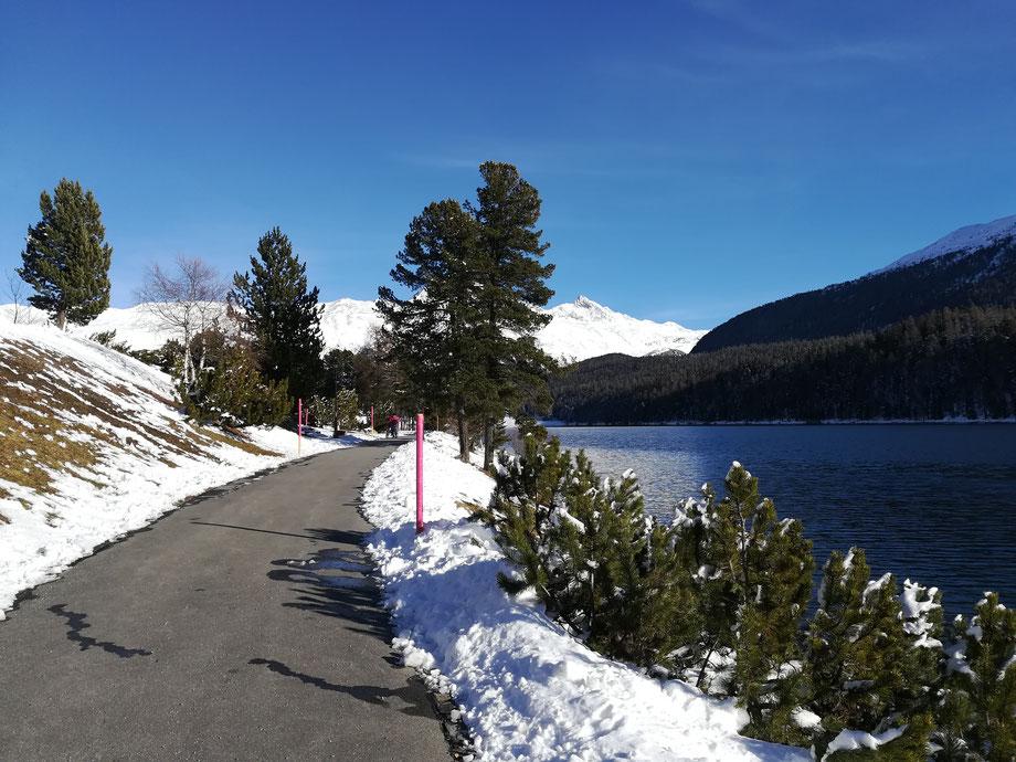 passeggiata sul lago di Sankt Moritz