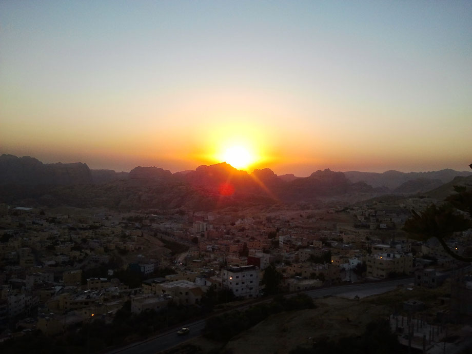 Sunset on Petra and the town of Wadi Musa