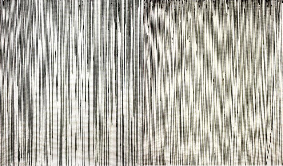 linien 1 | 2, 2012, Tinte auf Papier, 150 x 300 cm