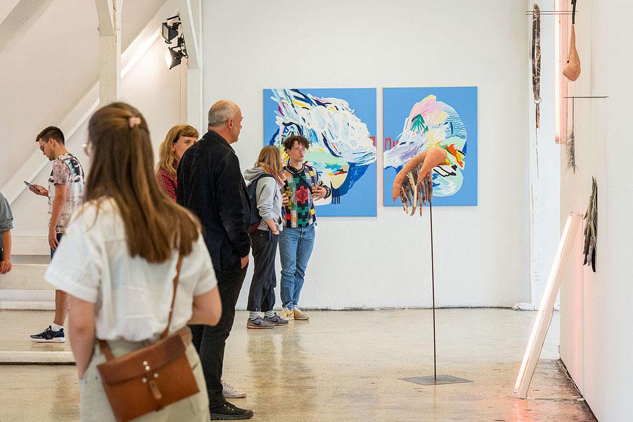 Impression von der Jahresausstellung 2019. Foto: Hochschulpressestelle