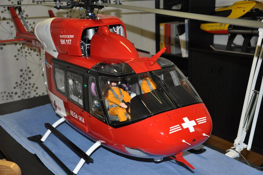 Aufbau einer BK 117 mit 2,2 m Rotordurchmesser und Jet Cat Turbine (Leistung ca. 5 kW)