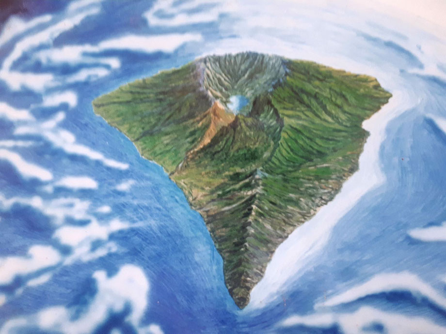 """Gemälde """"La Palma"""" von Juan Francisco Ortego Rodríguez: """"Y entonces DIOS vio que aquello le gustaba, y dio a los Palmeros dos corazones uno para nacer y otro para morir"""