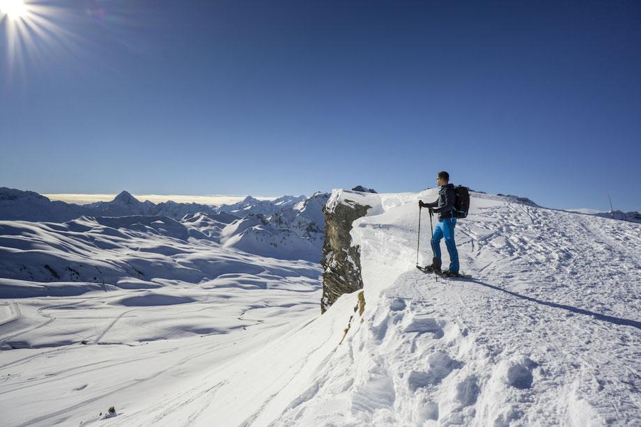 Melchsee Frutt Panorama Trail Schneeschuh Wanderung Winter Bonistock Tannalp Obwalden Aussicht schönste