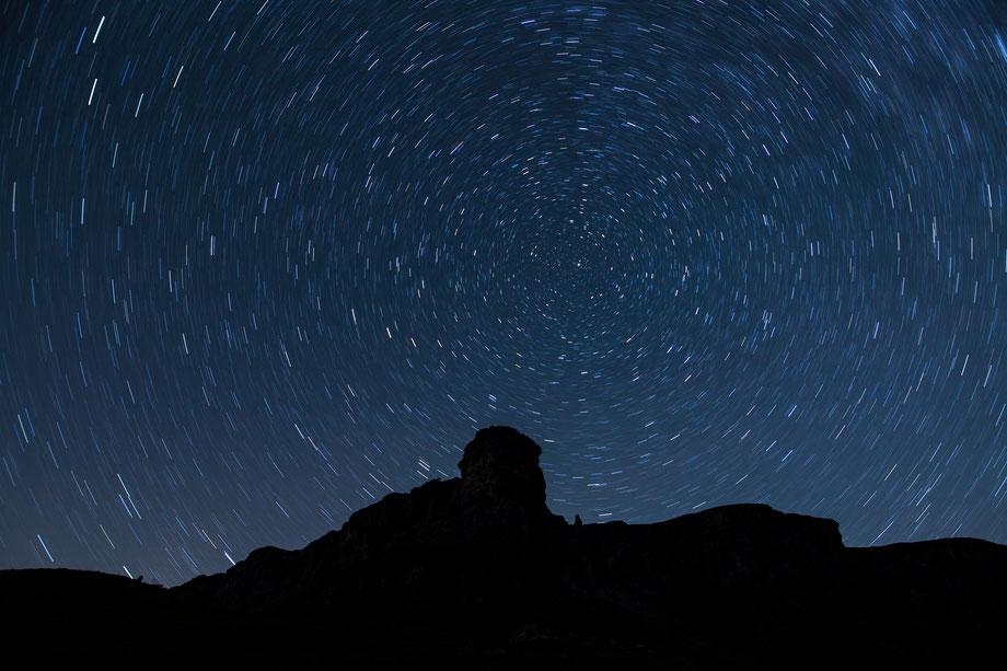 Sternenhimmel mit Polarstern, Belichtung 10 Minuten, f2.8, ISO 200
