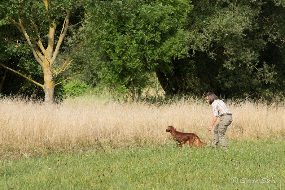 Ella und Sylvia an ihrer ersten Jagdprüfung, das TAN. August 2019