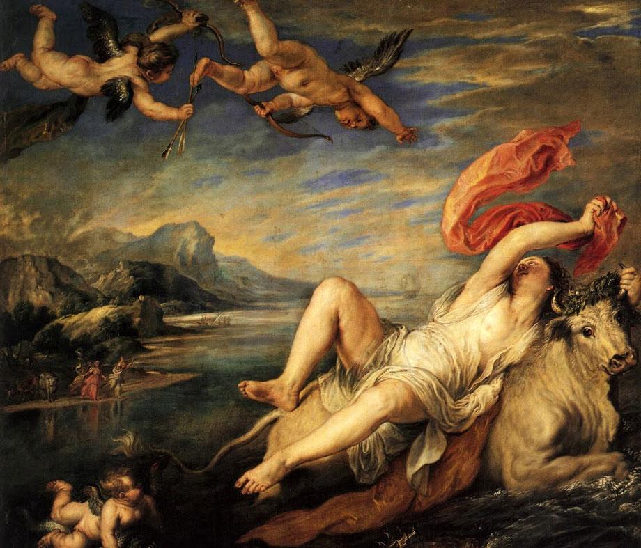 """Tiziano Vecellio, """"Ratto di Europa"""" (1560-1562), su commissione di Filippo II di Spagna. Il dipinto raffigura un episodio della mitologia greca: Zeus conquista e rapisce la principessa Europa tramutandosi in toro."""