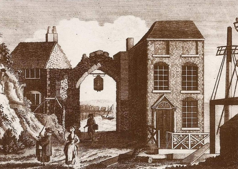 Etching,  depicting late 18th century York Gate