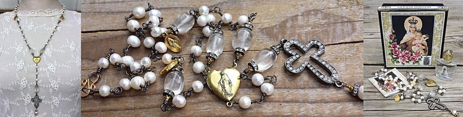 Gesegneter Rosenkranz gesegnete Rosenkranzkette Perlenkette Marienmedaillon vergoldet Kreuz Strass christlicher Schmuck Gebetskette schwarz weiß Bergkristall