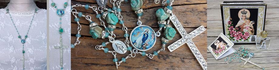 Gesegneter Rosenkranz gesegnete Rosenkranzkette Jadekette Marienmedaillon Kreuz Strass christlicher Schmuck Gebetskette türkis Rosen Jade silber
