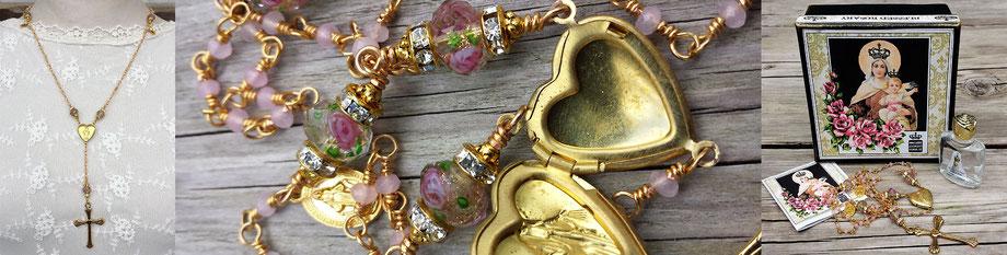 Gesegneter Rosenkranz gesegnete Rosenkranzkette Korallenkette Marienmedaillon vergoldet Kreuz Strass christlicher Schmuck Gebetskette