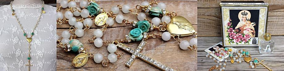 Gesegneter Rosenkranz gesegnete Rosenkranzkette Jadekette Marienmedaillon vergoldet Kreuz Strass christlicher Schmuck Gebetskette