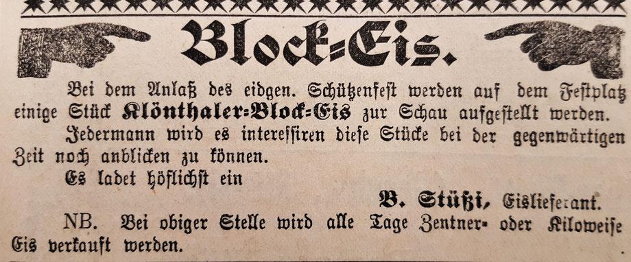 """Inserat aus der """"Neuen Glarner Zeitung"""" vom 8. Juli 1892: Klöntaler Eis als Attraktion am eidgen. Schützenfest in Glarus im Jahre 1892.            Bild: Thomas Spälty"""