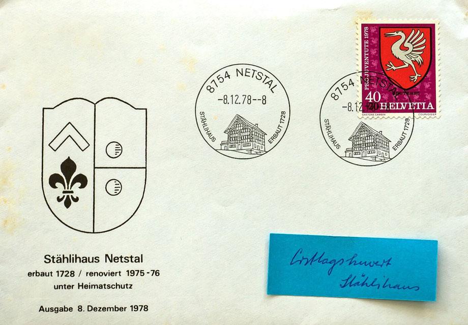 Werbestempel mit dem Stählihaus, der am 8. Dezember 1978 erstmals eingesetzt wurde.