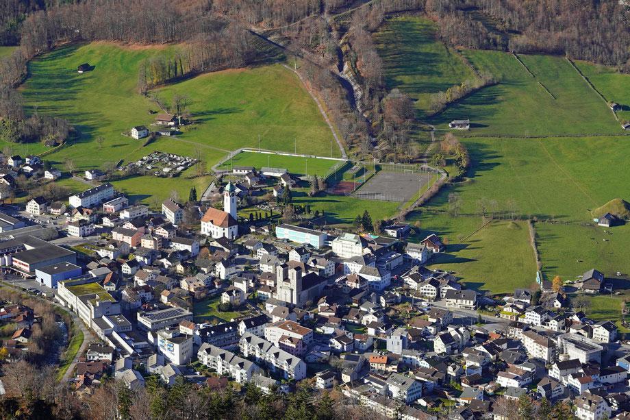 Blick auf das Dorfzentrum. Aufnahmedatum: 6, Dezember 2020