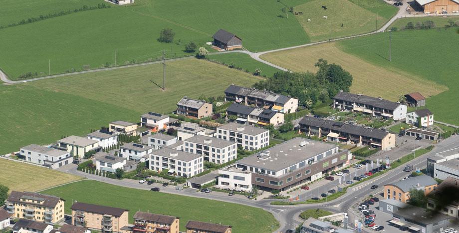 Quartiere Unter Bühl und Centro. Aufnahme von den Ennetbergen aus. Aufnahme vom  4. Juni 2019.
