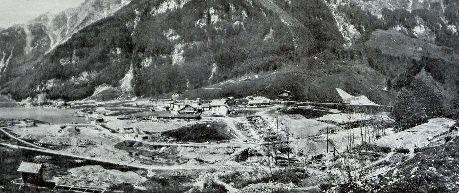 Baustelle Rhodannenberg von Süden, Mai 1908