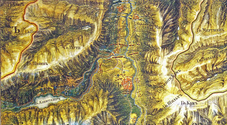 Kartenausschnitt aus dem Suworow-Atlas* mit der Frontlinie in Netstal