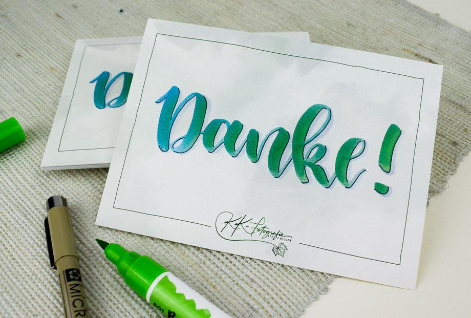 Werbemittel Dankeskarten Lettering Grafikdesign Straubing Werbeagentur