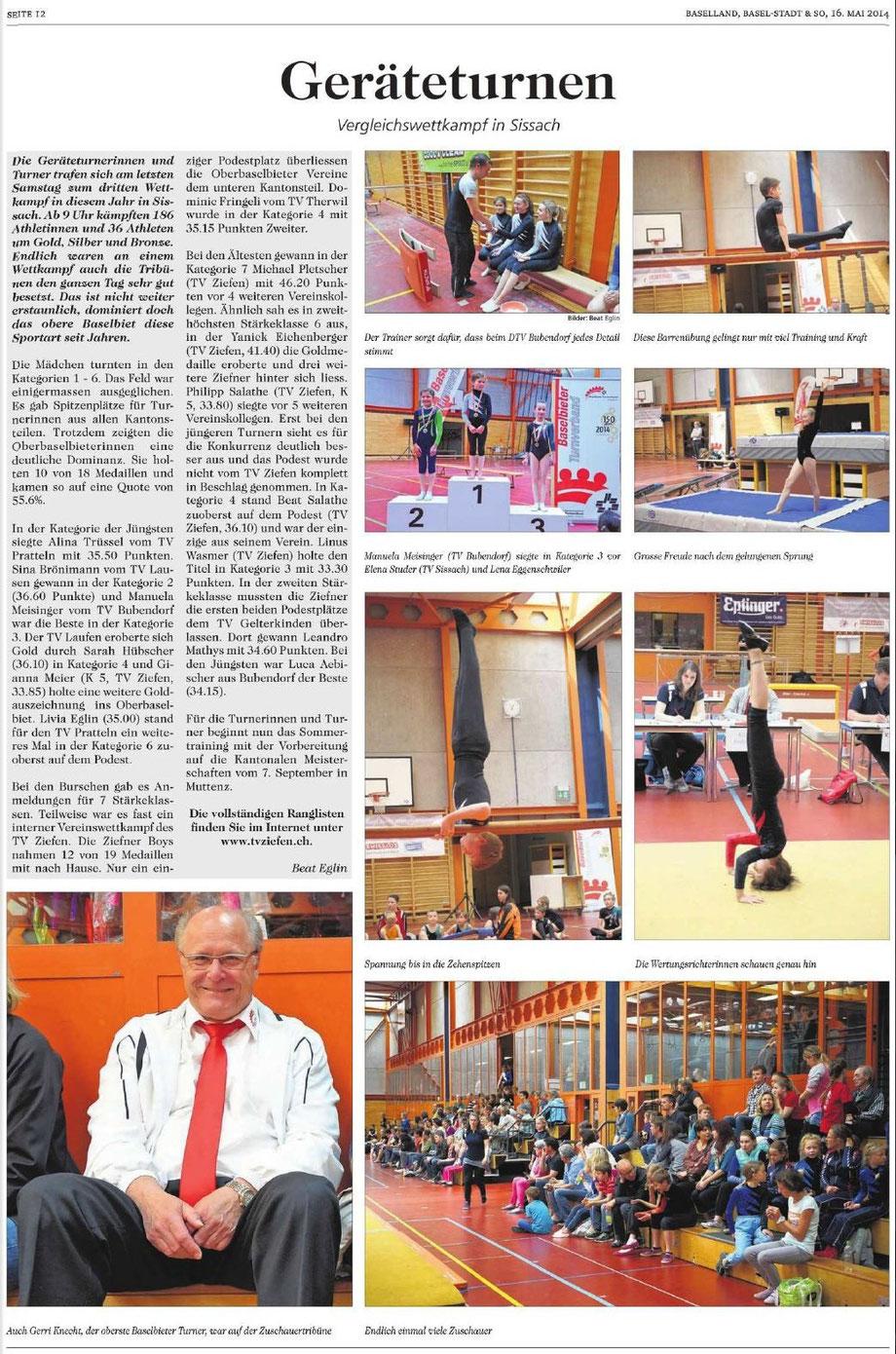 GERÄTETURNEN - Vergleichswettkampf 2014 Sissach