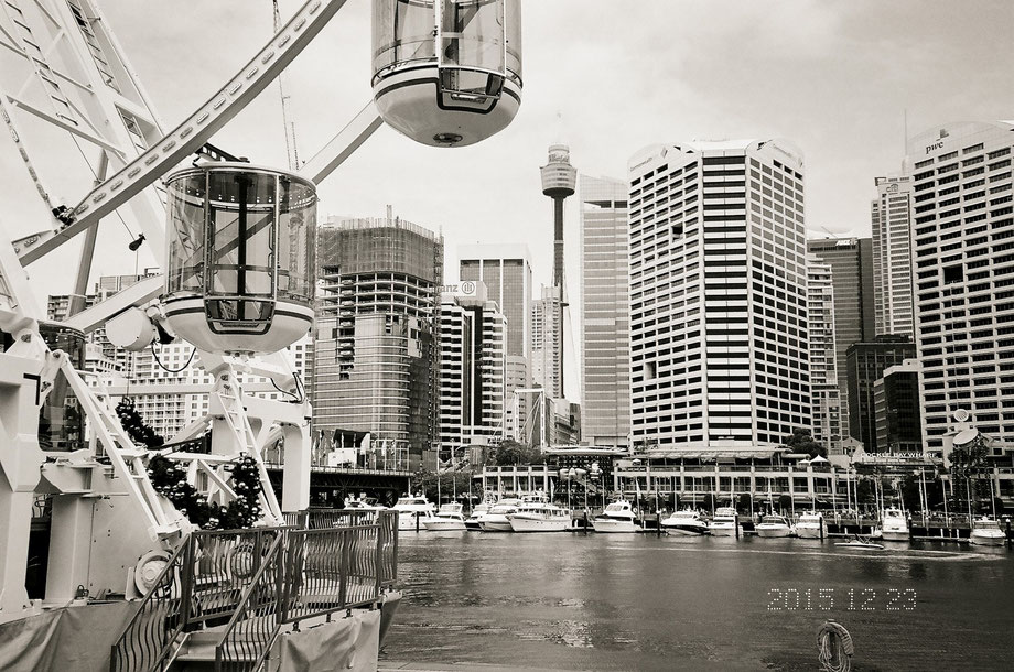 From Darling Harbour, Sydney (with Leica C1 and Ilford 400 XP2 Super Film)