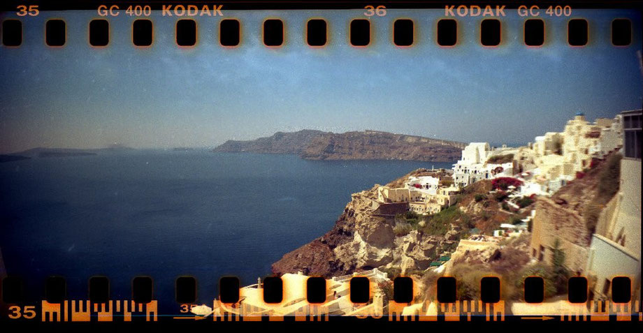 From Oia (with Lomography Sprocket Rocket Camera)