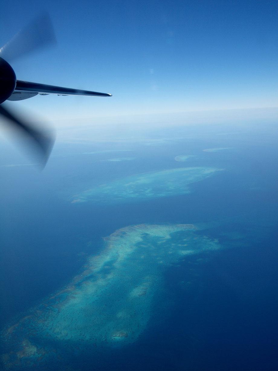 Flying over the coral sea (QuantasLink De Havilland Dash 8 400)