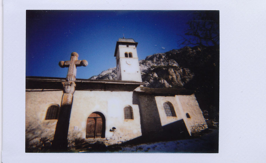 Church in the Alps, winter 2015 (with Lomography Instant Camera and Fujifilm Instax 800 film)