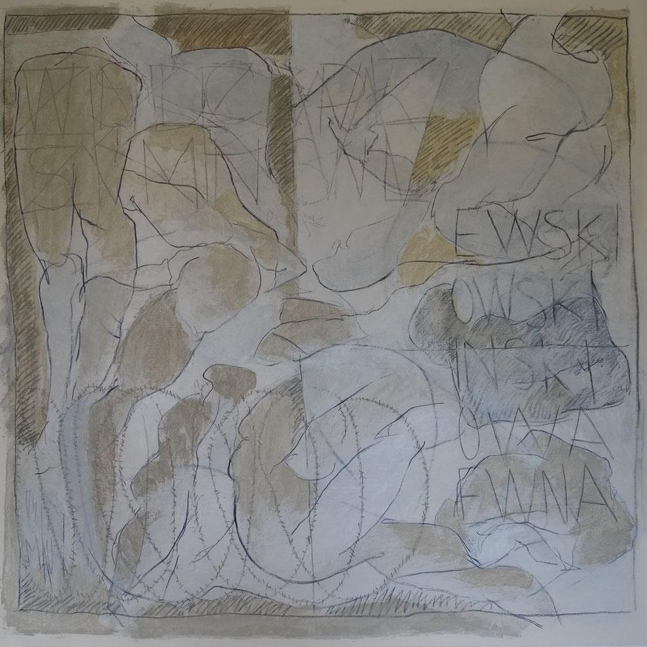 Encre, fusain, huile sur papier 150 x 150
