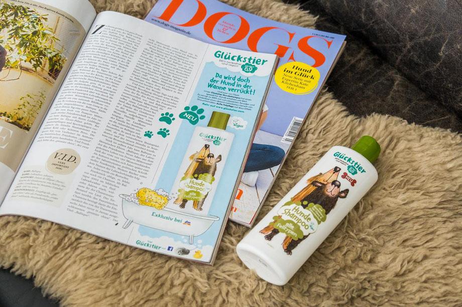 Anzeige für Glückstier Hundeshampoo | Glückstier (Lornamed) | Auftraggeber: Kochstrasse – Agentur für Marken GmbH