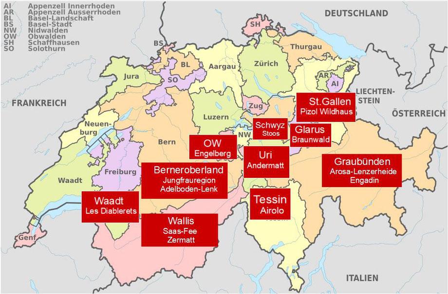 Karte Skigebiete Schweiz Sommerskifahren Schweiz