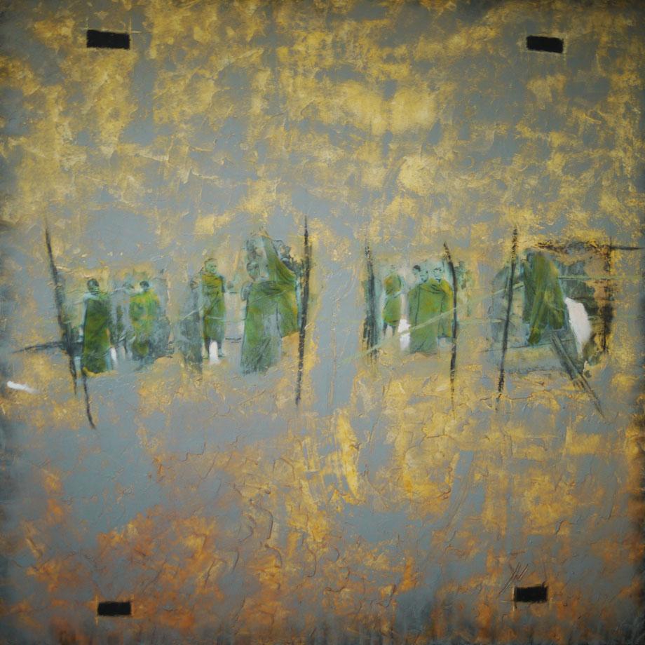Huile sur toile 3 D grand format 100x100. Sagesse