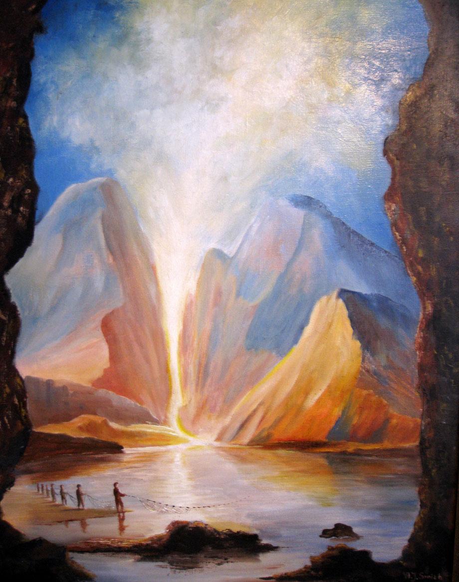 """Zijn voeten zullen te dien dage staan op de olijfberg  (Zach.14:4) Ez.11      """" De olijfberg zal splijten """"                   Een rivier zal uitgaan uit Jeruzalem """" Met de zegen gevist, er zal veel Vis zijn"""