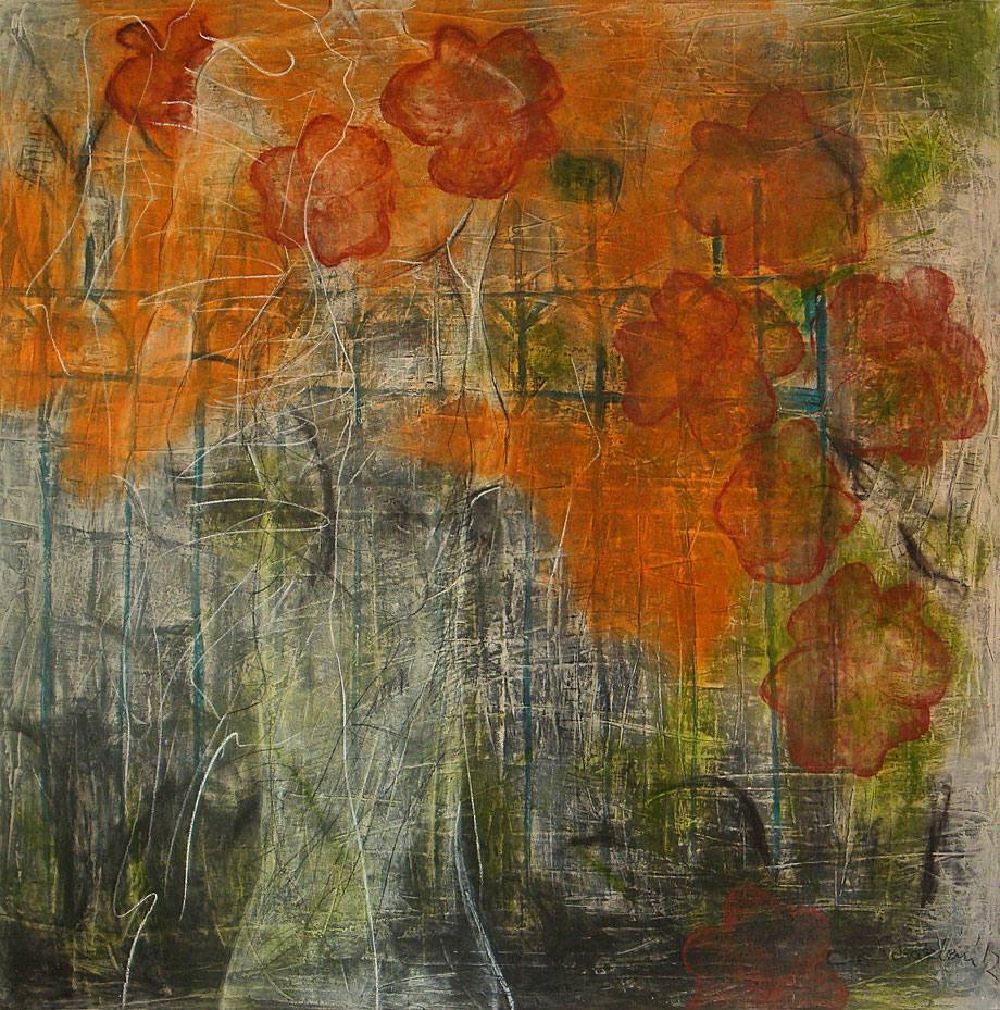 memory of flowers II, 2012, Acryl-Mischtechnik/Leinwand, 120x120 cm