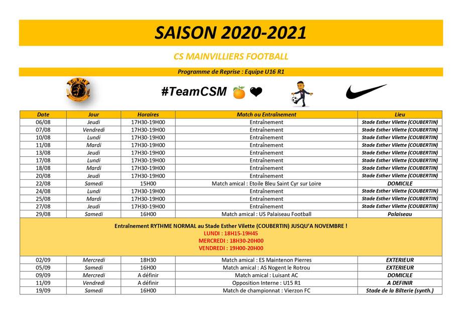 CS Mainvilliers Football Programme de Reprise U16 R1