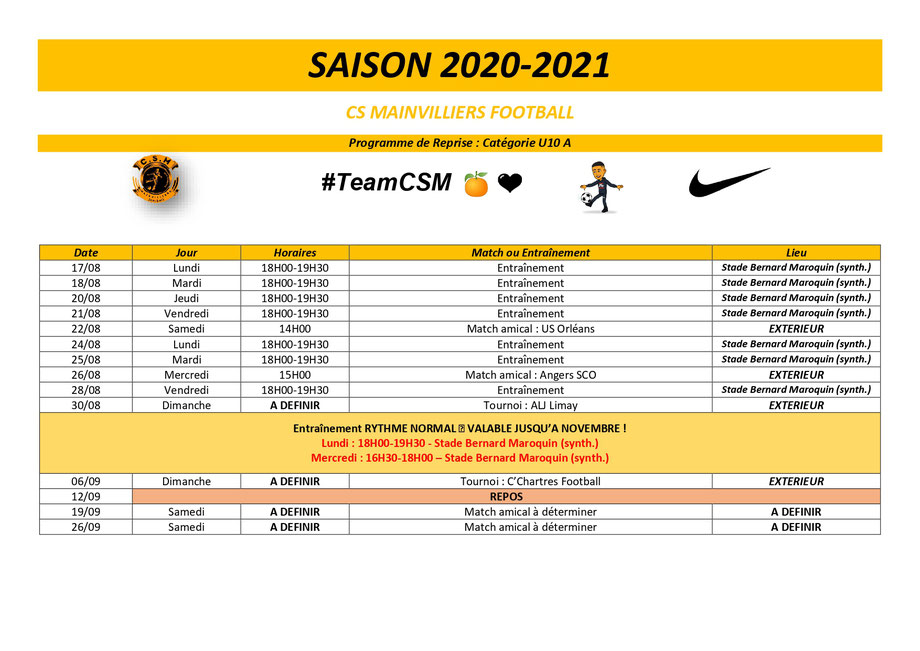 CS Mainvilliers Football Planning de reprise U10 A