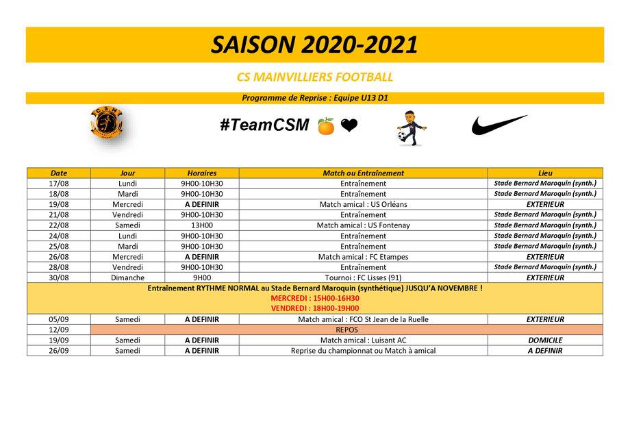 CS Mainvilliers Football Planning de reprise U12/U13
