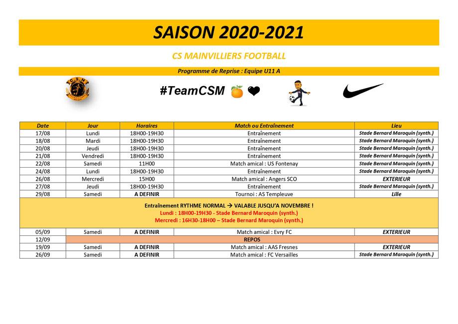 CS Mainvilliers Football Planning de reprise U11 A